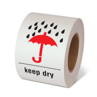 """Photograph of a roll of Speciality Handling Labels, """"Keep Dry"""" with Graphic."""