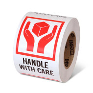 """Photograph of a roll of Speciality Handling Labels, """"Handle With Care"""" with Graphic."""
