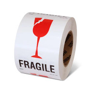 """Photograph of a roll of Speciality Handling Labels, """"Fragile"""" with Graphic."""