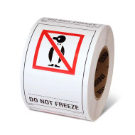 """Photograph of a roll of Speciality Handling Labels, """"Do Not Freeze"""" with Graphic."""
