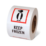 """Photograph of a roll of Speciality Handling Labels, """"Keep Frozen"""" with Graphic."""