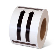 A photograph of a roll of This Way Up Black Arrow Shipping Labels.