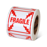 """Photograph of a roll of Speciality Handling Labels, """"Fragile"""" ."""