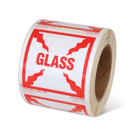 """Photograph of a roll of Speciality Handling Labels, """"Glass"""".."""