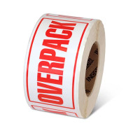 """Photograph of a roll of Speciality Handling Labels, """"Overpack"""" ."""