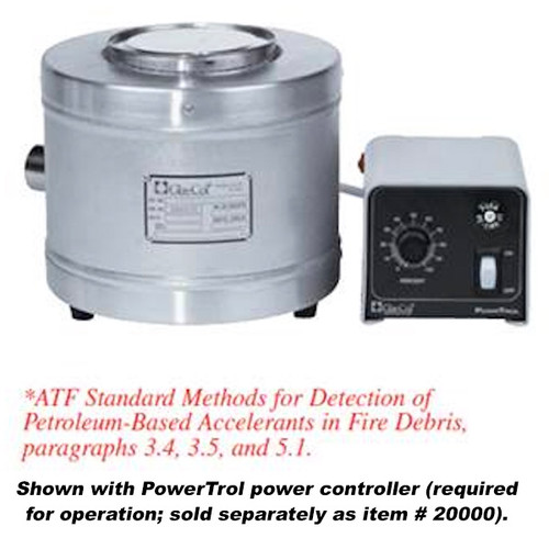 Paint can mantle shown next to a PowrTrol power controller which is sold separately.  Mantle specified by ATF Standard Methods for Detection of Petroleum-Based Accelerants in Fire Debris, paragraphs 3.4, 3.5, and 5.1.
