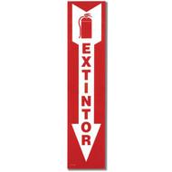 "EXTINTOR Spanish Fire Extinguisher Sign w/ Arrow, 4"" x 18"", Self-Adhesive"