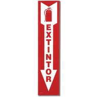 """Picture of the EXTINTOR Spanish Fire Extinguisher Sign w/ Arrow, 4"""" x 18"""", Self-Adhesive."""