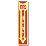 "Glow In The Dark Fire Extinguisher Sign w/ Arrow, 4"" x 18"", Self-Adhesive"