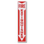 "Aluminum fire extinguisher sign w/ arrow, 4"" x 18"" aluminum"