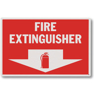 """Picture of a Vinyl fire extinguisher sign w/ arrow and icon, 12""""w x 8""""h."""