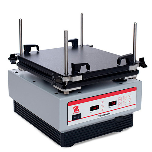 Picture of the Ohaus High Speed Microplate Shaker, right facing.