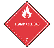 A photograph of a 03022 class 2 flammable gas dot shipping labels, with 500 per roll.
