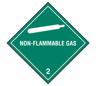 A photograph of a 03024 class 2 non-flammable gas dot shipping labels, with 500 per roll.