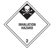 A photograph of a 03028 class 2 inhalation hazard dot shipping labels, 500/roll.