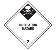 A photograph of a 03028 class 2 inhalation hazard dot shipping labels, with 500 per roll.