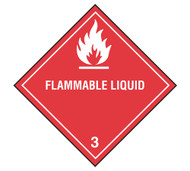 A photograph of a 03032 class 3 flammable liquid dot shipping labels, with 500 per roll.