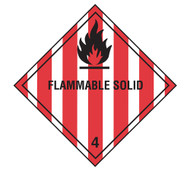A photograph of a 03036 class 4 flammable solid dot shipping labels, with 500 per roll.