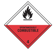 A photograph of a 03034 class 4 spontaneously combustible dot shipping labels, 500/roll.