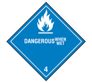 A photograph of a 03038 class 4 dangerous when wet dot shipping labels, 500/roll.
