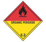 A photograph of a 03042 class 5 organic peroxide dot shipping labels, with 500 per roll.