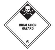 A photograph of a 03047 class 6 inhalation hazard dot shipping labels, 500/roll.