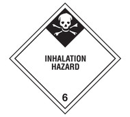 A photograph of a 03047 class 6 inhalation hazard dot shipping labels, with 500 per roll.