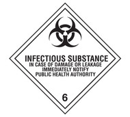 A photograph of a 03048 class 6 infectious substance dot shipping labels, with 500 per roll.