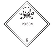 A photograph of a 03052 class 6 poison dot shipping labels, with 500 per roll.