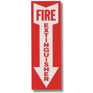 """Picture of a Self-adhesive fire extinguisher sign w/ arrow, short, 4""""w x 12""""h."""