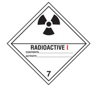 A photograph of a 03056 class 7 radioactive i dot shipping labels, with 500 per roll.