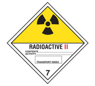 A photograph of a 03058 class 7 radioactive ii dot shipping labels, with 500 per roll.