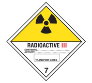 A photograph of a 03054 class 7 radioactive iii dot shipping labels, with 500 per roll.
