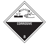 A photograph of a 03060 class 8 corrosive dot shipping labels, with 500 per roll.