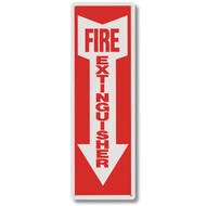 "Rigid plastic fire extinguisher sign w/ arrow, short, 4""w x 12""h plastic"