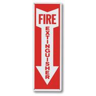 "Aluminum fire extinguisher sign w/ arrow, short, 4""w x 12""h aluminum"