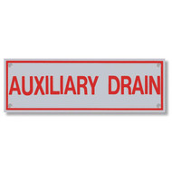 Photograph of the Auxiliary Drain Aluminum Sprinkler Identification Sign.