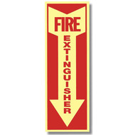 """Picture of a Glow in the dark fire extinguisher sign w/ arrow, short, 4""""w x 12""""h vinyl."""