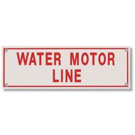 Photograph of the Water Motor Line Aluminum Sprinkler Identification Sign.