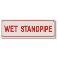 Photograph of the Wet Standpipe Aluminum Sprinkler Identification Sign.
