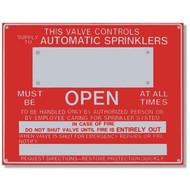 "This Valve Controls... Aluminum Sprinkler Identification Sign, 9""w x 7""h"