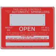 "This Valve Controls... Aluminum Sprinkler Identification Sign, 9""w x 7""h"