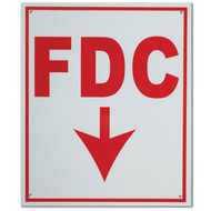 """Photograph of the FDC Fire Department Connection Aluminum Sign w/ Down Arrow, 10""""w x 12""""h."""