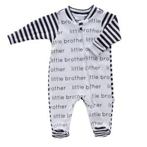 Little Brother Zip Footie - stripes