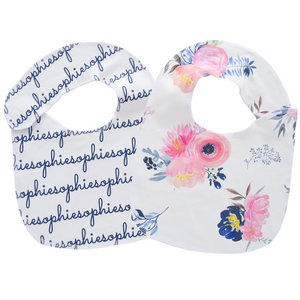 Personalized Organic Bibs / midnight blush / set of 2