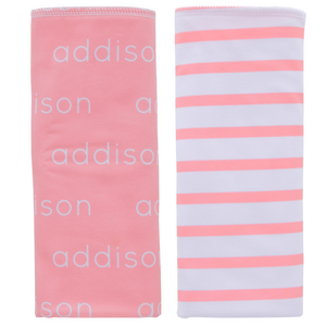 Personalized Double-sided Polyester  Burp Cloths / mint & salmon / set of 2 (LIMITED EDITION)