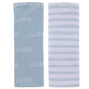 Personalized Double-sided Polyester  Burp Cloths / sage / set of 2 (LIMITED EDITION)