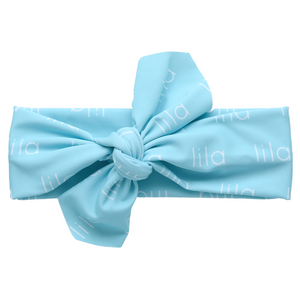 Personalized Knotted Polyester Headwrap - aqua (LIMITED EDITION)