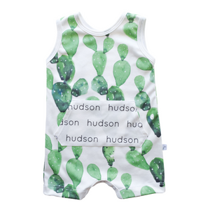 Personalized Pocket Tank Romper - cactus