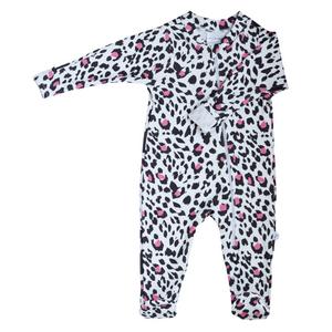 Zip Footie - leopard (pink)